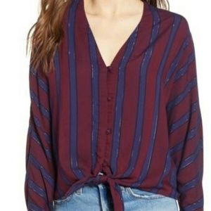 Rails Sloane Tie Front Striped Blouse Top Size M